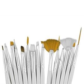Набор кистей для дизайна 15шт.с дотсом (белый)