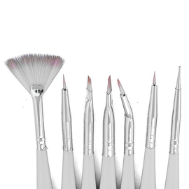 Набор кистей для дизайна 7шт белая ручка