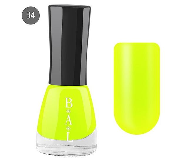 Bal Лак для ногтей 6мл №34 лимон неоновый